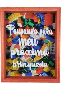 Quadro Cofre Madeira Rústico Poupando Para Meu Próximo Brinquedo Art Frame