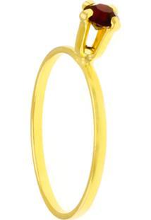 Anel Horus Import Solitário Strass Rubi Banhado Ouro Amarelo 18K 1010034