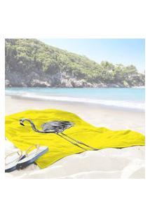 Toalha De Praia / Banho Flamingo Yellow One Único