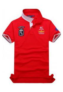 Camisa Polo Air Force Piquet Manga Curta - Vermelho