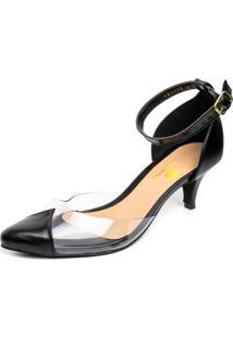 Sapato Scarpin Salto Baixo Em Napa Preta Com Transparência - Kanui