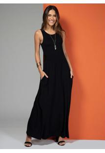 Vestido Longo Com Bolsos Preto