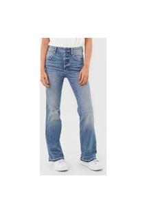 Calça Jeans Gap Reta Destroyed Azul