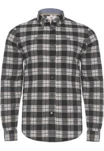 Camisa Masculina Flannel Plaid - Cinza