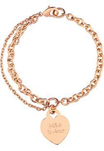 Pulseira Coração Com Nome Personalizado Banhado A Ouro Rosé La Madame Co