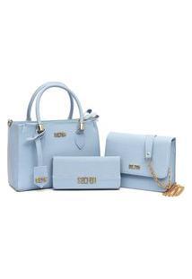 Bolsa Feminina Transversal Kit 3 Em 1 Selten Azul