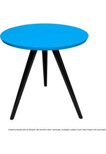 Mesa Lateral De Canto Tripé Média Laqueada Preta E Azul Turquesa