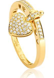 Anel De Ouro 18K Coração Com Pavê De Diamantes-My Heart