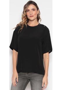 Blusa Lisa Com Recortes & Botões - Pretadudalina