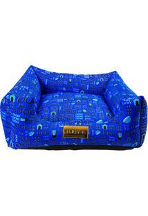 """Cama Quadrada """"Dog""""- Azul Escuro & Preta- 20X50X50Cm4 Patas"""