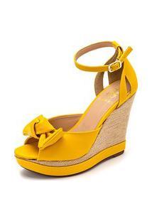 Sandalia Anabela Batta Shoes Salto Alto Sisal Laço Frontal Amarelo
