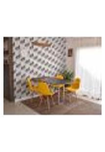 Conjunto De Mesa Dobrável Retrátil 1,40 Preto/Noronha Inox + 4 Cadeiras Botonê - Amarela