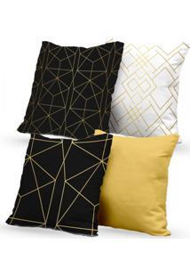 Kit 4 Capas De Almofadas Decorativas Own Geométricas Preta Branca Gold 45X45 - Somente Capa