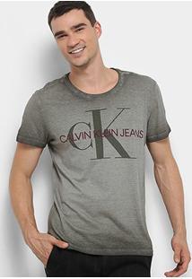 Camiseta Calvin Klein Estonada Masculina - Masculino-Oliva