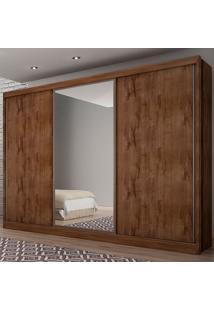 Guarda-Roupa Casal 3 Portas E 8 Gavetas Com Espelho Spazzio– Novo Horizonte - Canela