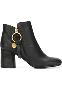See By Chloé Ankle Boot 'Louise' De Couro - Preto