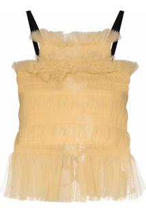 Molly Goddard Blusa Com Tule E Amarração Posterior - Amarelo