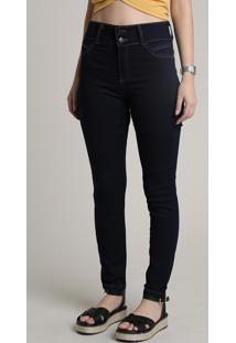 Calça Jeans Super Skinny Pull Up Azul Escuro