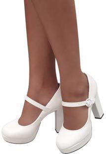 Sapato Feminino Branco Boneca Noiva Salto Alto Grosso