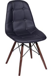 Cadeira Eames Botonãª- Preta & Madeira Escura- 83X44Xor Design