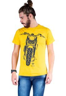 Camiseta Mister Fish Estampado Motorcycle Mostarda