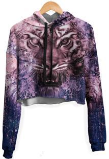 Blusa Cropped Moletom Feminina Over Fame Tigre Tie Dye Md04