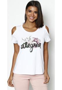 Camiseta Com Bordado- Branca & Preta- Dress Todayênfase