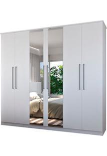 Guarda Roupa Casal 249Cm 6 Portas 2 Espelhos Winter F04 Branco - Mpoze