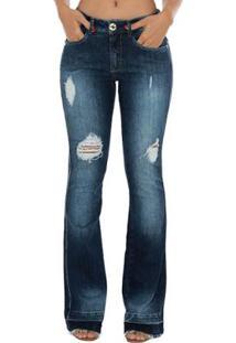 25721c16f ... Calça Jeans Denuncia Mid Rise Flare Feminina - Feminino-Azul