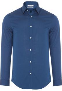 Camisa Masculina Micropadronagem De Listras - Azul