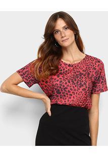 Camiseta Lança Perfume Onça Descolada Feminina - Feminino-Vermelho