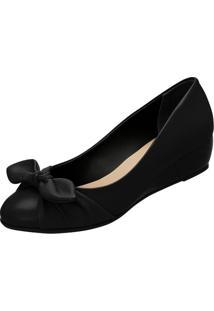 Sapato Anabela Com Laço- Preto- Salto: 3Cm- Azalazaleia
