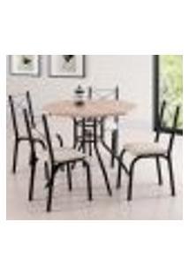 Conjunto De Mesa De Jantar Com 4 Cadeiras Caribe Ii Linho Carvalho E Bege
