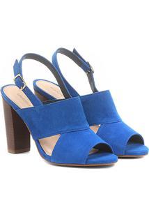 Sandália Couro Shoestock Salto Grosso Camurça Feminina - Feminino-Azul