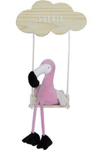 Enfeite Maternidade Nuvem Balança Flamingo Moderno Nome Bebê - Kanui