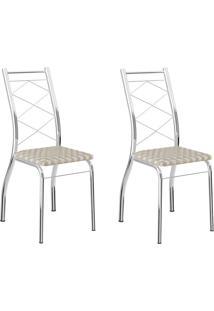 Kit 2 Cadeiras 1710 Retrô/Cromado - Carraro Móveis