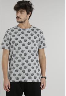 Camiseta Masculina Estampada De Folhas Manga Curta Gola Careca Cinza Mescla