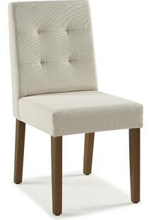Cadeira De Jantar Estofada Lipy - Verniz Capuccino - Tec.156B Off White - 45X50X90 Cm