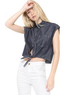 Camisa Jeans Cropped Colcci Amarração Azul