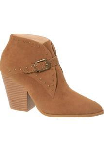 Ankle Boot Camel Com Cravinhos, Fivela Lateral E Salto Bloco Alto