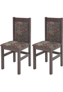 Kit Com 2 Cadeiras Zamarchi Tabaco Floral - 11