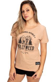Camiseta Hollyweed California Republic Cafã© Com Leite - Marrom - Feminino - Algodã£O - Dafiti