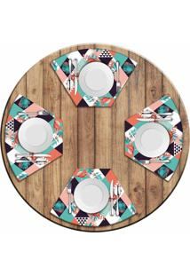 Jogo Americano Love Decor Para Mesa Redonda Wevans Flamant Abstract Kit Com 4 Pçs