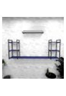 Estante Industrial Escritório Aço Cor Preto 180X30X68Cm (C)X(L)X(A) Cor Mdf Azul Modelo Ind30Azes