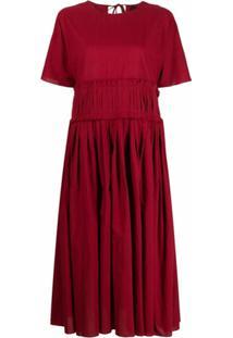 Sara Lanzi Vestido Midi Evasê - Vermelho