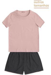 Pijama Feminino Com Detalhes Em Renda Em Outros Tamanhos