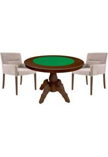 Mesa De Jogos Carteado Redonda Montreal Tampo Reversível Imbuia Com 2 Cadeiras Vicenza Nude - Gran Belo