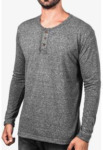 Camiseta Henley Cinza Manga Longa 103322