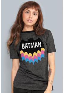 Camiseta Bandup! Batman Rainbow - Feminino-Mescla Escuro