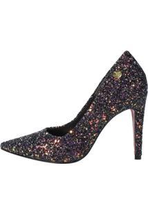 Scarpin Salto Alto Week Shoes Glitter Preto - Tricae